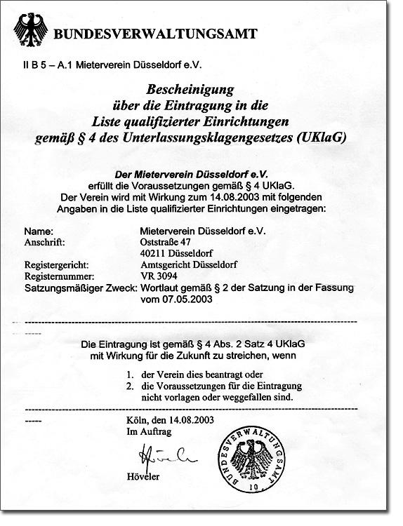 Zertifikat | Mieterverein Düsseldorf